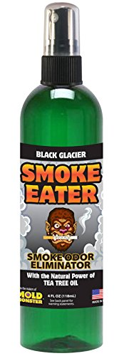 Smoke Eater - Breaks Down Smoke Odor at the Molecular Level - Eliminates Cigarette, Cigar or Pot Smoke On Clothes, in Cars, Boats, Homes, and Office - 4 oz Travel Spray Bottle (BLACK GLACIER)