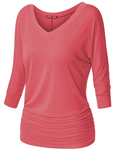 TWINTH Women's 3/4 Sleeve Cowl Neck Long Sleeve Pullover Dustypink 3XL Plus Size Dolman Sleeve Cowl Neck