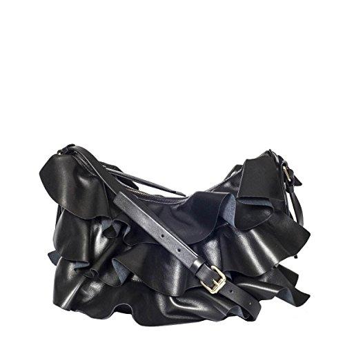 Borbonese Damen 954835400100 Schwarz Leder Schultertasche