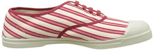 Bensimon Tennis Lacet Rayures Transat - Botas Hombre Rouge (Rouge)