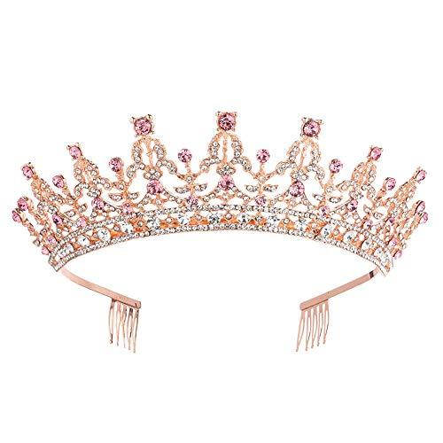 Princess Headpiece - Crystal Queen Tiara Birthday Crown Rhinestones Pageant Quinceanera Prom Princess Headpieces Bridal Wedding Headbands (Rose Gold Pink)