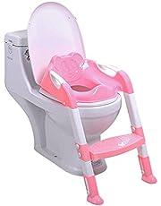 Kidsidol Siège de Toilette Pour Bébés Enfants Avec Marches et Coussin de Siège Souple, Chaise de Formation, Réducteur de Toilette Stable Pliant Réglable Confortable Anti-dérapant Pour 1-7ans