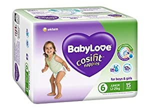 BABYLOVE Cosifit Junior Nappies 15-25kg (15 pack x 4), Junior, 4 count