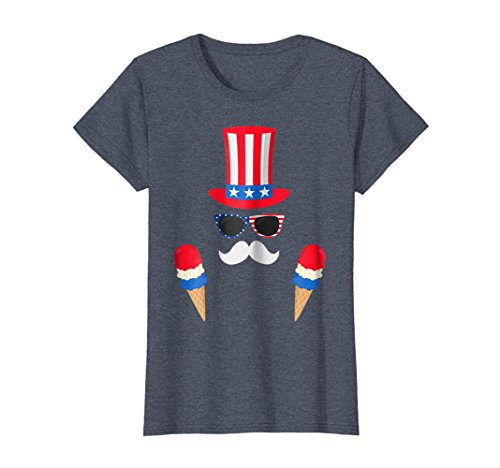 (Womens Uncle Sam Costume Ice Cream Cone - 4th of July T-Shirt Large Heather)