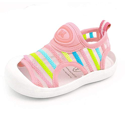 Toddler Boys Girls Summer Sport Sandals Closed Toe Non-Slip Rubber Sole Pool Beach Flyknit Mesh Sneakers Lightweight Outdoor Water Shoes(Pink Stripe,16)