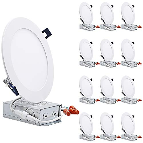 TORCHSTAR Essential Series 12-Pack 13.5W 6 Inch Slim LED Panel Downlight with J-Box, Dimmable 1000lm Ultra-Thin LED…