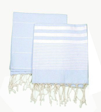 Set of 2, Eco-friendly Turkish Tea Towel, Dishclothes, Peshkir, Dish Towel, Kitchen Towel, Hand Towel (Soft Blue), Size: 18″ x 40″