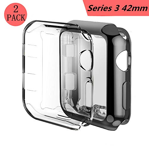 Smilelane Screen Protector Apple Watch 3 Case, iwatch Soft Flexible TPU All-Around Protective Case High Defination Clear Ultra-Thin Cover for Apple Watch Series 3 42mm (1 Black + 1 Transparent)