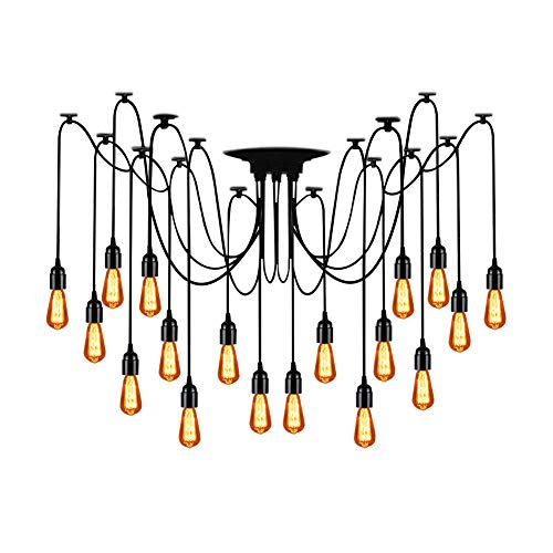(T&A 18 Arms Spider Lamps Vintage Edison Style Adjustable DIY Ceiling Spider Pendant Lighting Rustic Chandelier(Each with 78.74