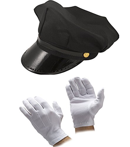 Glossy Look Men's Chauffeur Hat Tie Gloves Limo Driver Costume Accessory One Size (China Man Costumes)
