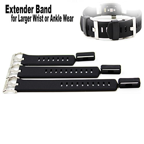 Budesi Extender Band Compatible for Fitbit Charge/Fitbit Charge HR/2/Fitbit Versa Band Extension Wristband-for Extral Large Size Wrist or Ankle Wear 3 Pack with Different Length,No Wristband or Tracke