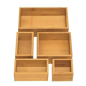 Seville Classics Box Utensil & Kitchen Tool Holder Storage Organizer, 5 pc, Bamboo