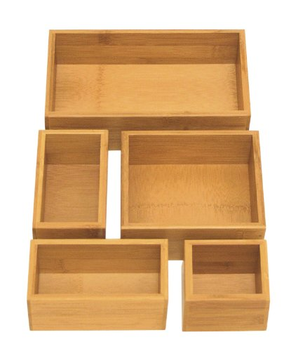 Seville Classics 5-Piece Bamboo Storage Box Drawer Organizer ()