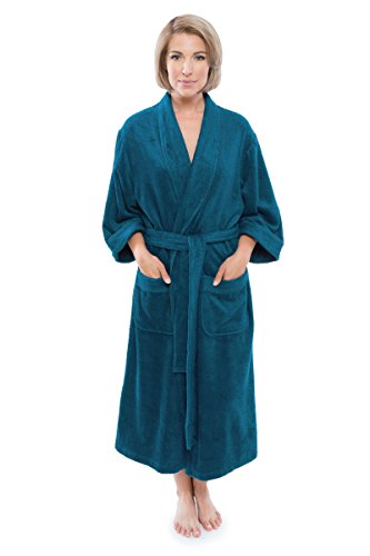 Texere Women's Luxury Terry Cloth Bathrobe (Tidepool, SM) Luxury Bathrobe