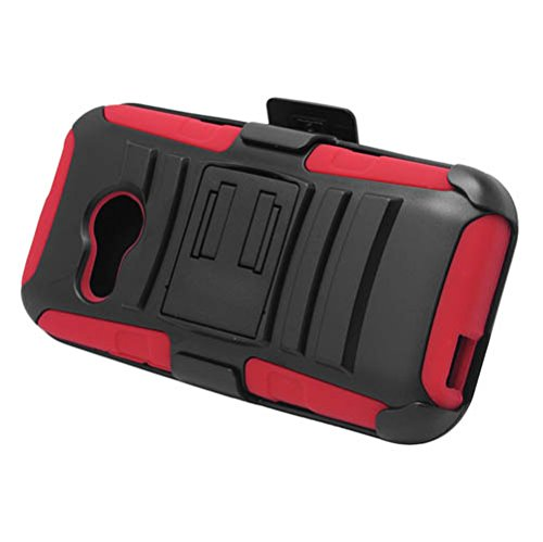 HTC One Remix (Verizon) - Black and Red Impact Armor Kickstand Hybrid Cover Case + Locking Swivel Belt Clip Holster + Atom LED Keychain Light (Htc Cases Remix Verizon)