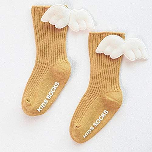 Aimfor 1 Pairs Socks For Baby Back White Wings Children Socks Dark Green Tube Kid Socks Dispensing Anti-slip Combed Cotton Socks Autumn Winter Warm Windproof Socks 0-6 Months