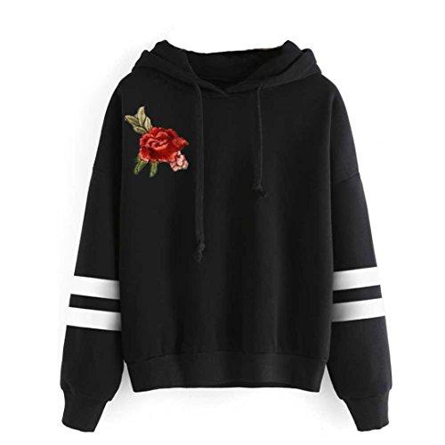 YANG-YI Hot Womens Embroidery Applique Long Sleeve Hoodie Sweatshirt Jumper Hooded Pullover Blouse (L, Black)