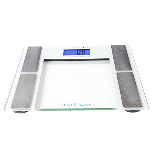Digital Body Fat Bathroom Scale, Battery Operated Cordless Large LCD Display for Health and Fitness Tracking Scale by Bluestone- Tempered Glass
