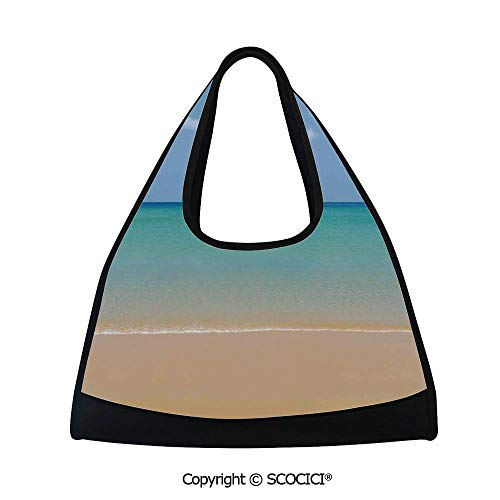 Fitness bag,Still Calm Sea at the Beach with Aquatic Landscape Sun Peace Relax Nature Image Decorative,Sports and Fitness Essentials(18.5x6.7x20 in) Cream Turquoise ()