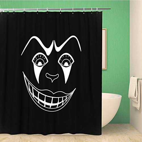 Awowee Bathroom Shower Curtain Character White Scary Clown