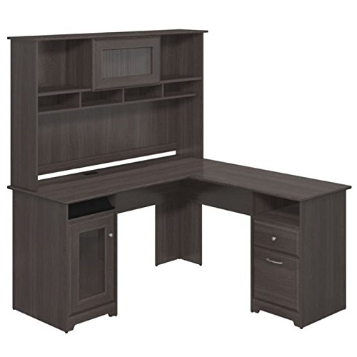 Bush Furniture Cabot L Shaped Desk with Hutch in Heather Gray - Furniture Hutch