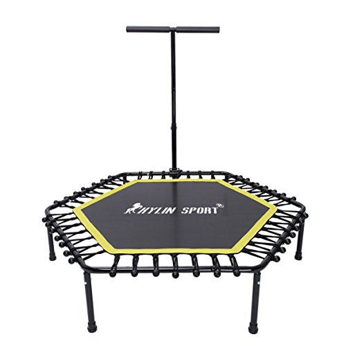 KYLIN SPORT 50 Inch Fitness Trampoline with Adjustable T Handle Indoor Outdoor Hexagon Mini Trampoline For Children/Adults by KYLIN SPORT