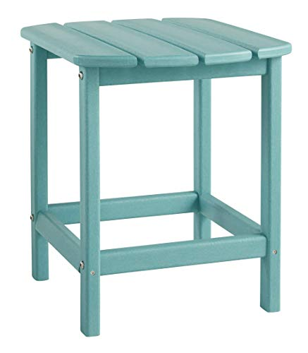 Table End Adirondack Blue (Ashley Furniture Signature Design - Sundown Treasure Outdoor End Table - Hard Plastic - Slat Top - Turquoise)