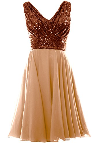 Party Neck Bridesmaid Women Wedding Short Bronze MACloth Gown Sequin Dress V Champagne Chiffon 0TBnq0A1w