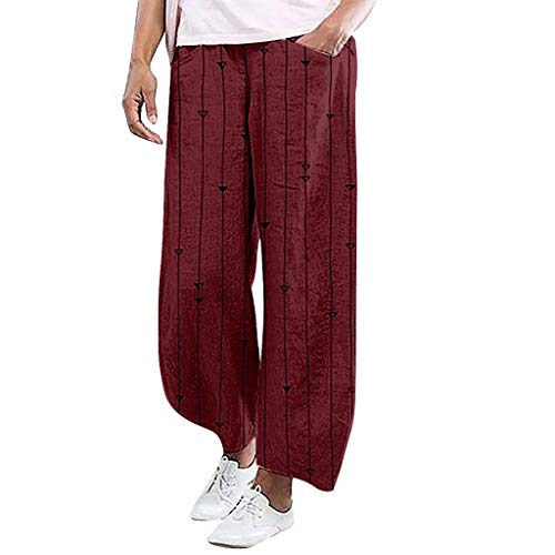 (YKARITIANNA Ladies'Stripe Printing Elastic Waist Pull-On Force Pocket Comfy Casual Broad-Legged Trousers Pants Leggings Wine)