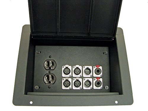 Configuration Recessed - ProCraft Pro Audio Recessed Stage Floor Box 1 AC Duplex 8 XLR/Channel Any Configuration Made in the USA