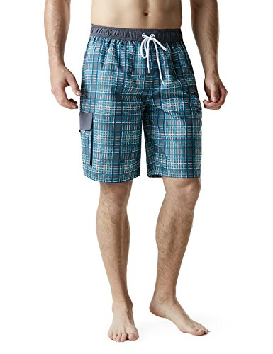 TSLA Men's 11 Inches Swimtrunks Quick Dry Water Beach, Plaid(msb04) - Check Grey, Large