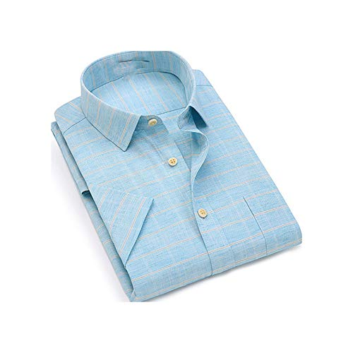 (Short Sleeve Turndown Collar Linen Soft Comfortable Cool Plaid Print Business Shirts,Touneeh,XXL)