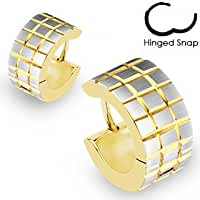 316L\x20Surgical\x20Stainless\x20Steel\x20Gold\x20Plated\x20Hoop\x20Earring\x20with\x20Brushed\x20Steel\x20Grooved\x20Square\x20Grids