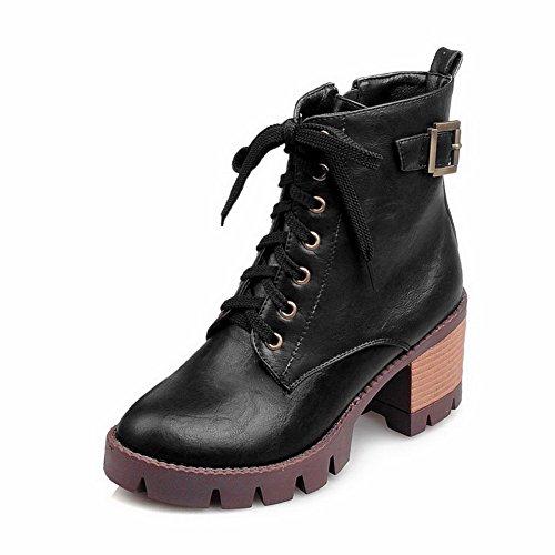 Women's Closed Low Heels Round AgooLar Black Solid Kitten Zipper Toe Top Boots dUZqnSwnY