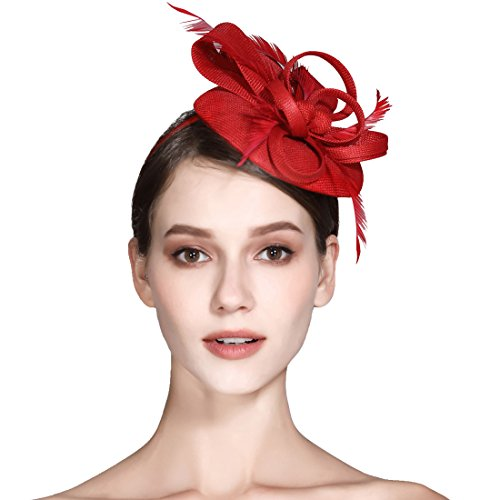 c3e41c42ed120 Fascinator Feather Fascinators for Women Pillbox Hat for Wedding Party Derby  Royal Banquet