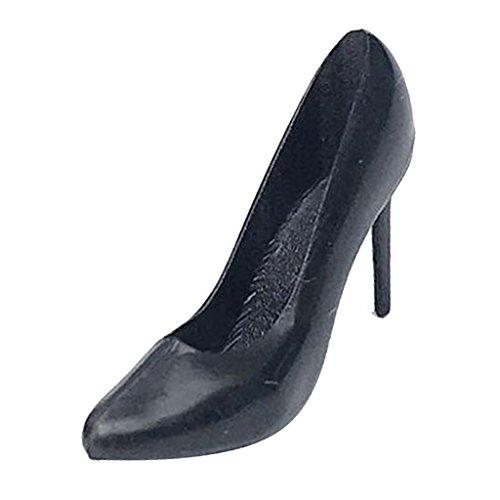 - MagiDeal 1/12 Scale Miniature Plastic Black High Heel Shoes Furniture Dolls House Room Woman Figures Accessory Decor