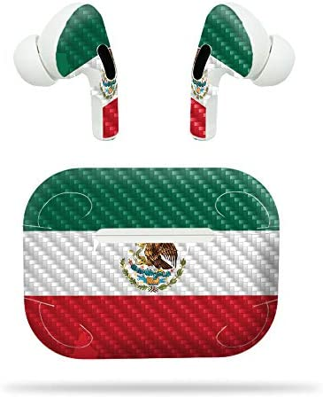 MightySkins Carbon Fiber Skin for Apple Airpods Pro - Army Star   Textured Carbon Fiber Finish   Easy to Apply, Remove, and Change Styles   Made in The USA (CF-APAIPOPR-Mexican Flag)