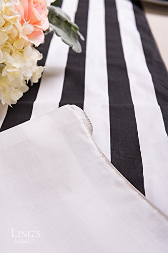 Ling's moment Classic 1 Inch Black and White Striped Table Runner, 12 x 72 Inches, 100% Cotton Machine Washable Colorfast by Ling's moment (Image #5)
