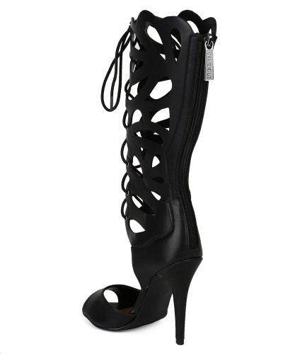 Deliciosa Sandalia De Tacón Ag66-leann-h Mujer Cuero Medio Pantorrilla Gladiador Estilete Abierto - Negro