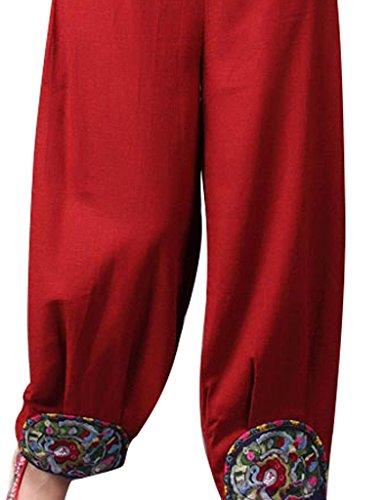 Fondo Rojo Mujer Pantalones Bordado Youlee Cintura Elástica Lino Pololos IwFzx