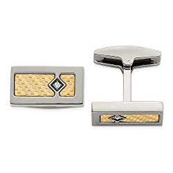 18ct Polished Textured Diamond Cuff Links