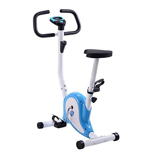 Goplus Upright Exercise Bike Magnetic Stationary Cycling Fitness Cardio Aerobic Equipment (White + Blue) Superbuy