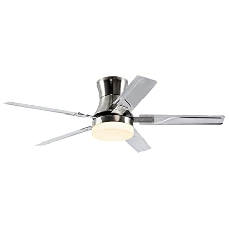 RainierLight 48 Inch Flush Mount Ceiling Fan with Light Kit and Remote Control 5 Reversible Stainless Steel Blades LED 3 Color Light Decoration