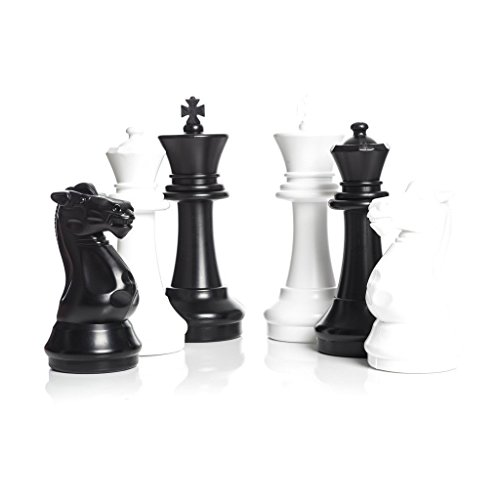 MegaChess Large Chess Set and Large Chess Mat – Black and White – Plastic – 16 inch King