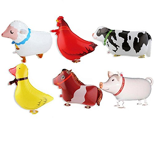 [Big size] 6PCS DLOnline Animal Balloons Farm Animal Balloon for Birthday Party or other parties (Balloons Helium Animal)