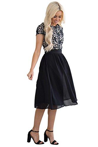 Jen Olivia Lace & Chiffon Modest Semi-Formal Dress In Black - XXL, Modest Cocktail Dress, Modest Semi-Formal or Prom Dress In Black