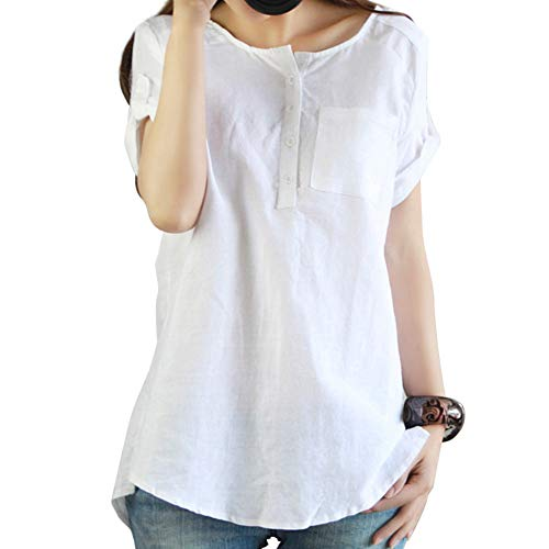 Women Summer Casual Short Sleeve Loose T Shirt Cotton Linen Blouse Tops White