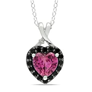 """Sterling Silver Created Pink Sapphire Black Spinel and Diamond Heart Pendant Necklace (0.005 cttw,G-H Color, I2-I3 Clarity), 18"""""""