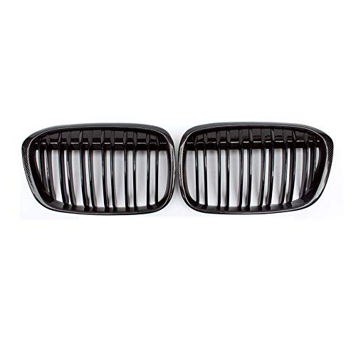 (Fandixin F48 Grille, Carbon Fiber Front Kidney Grill for BMW X1 Series F48 Gloss Black)