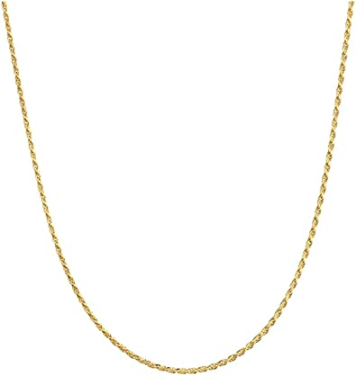18K White Gold 1mm Solid Rope 20 Chain